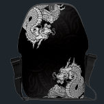 "Chinese Dragon White Courier Bag<br><div class=""desc"">Chinese Dragon Design</div>"