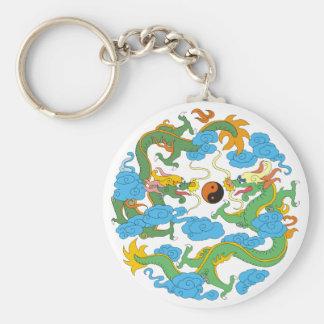 Chinese Dragon Yin Yang Basic Round Button Keychain
