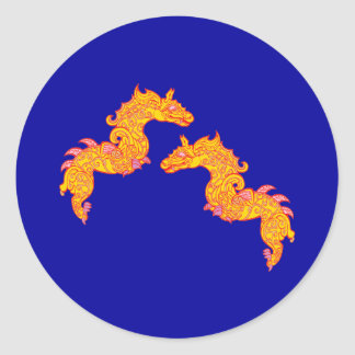 Chinese dragons Chinese dragee ONS Classic Round Sticker