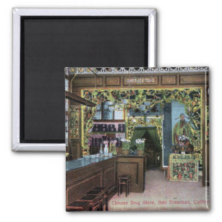 Chinese Drug Store in San Francisco Vintage 2 Inch Square Magnet