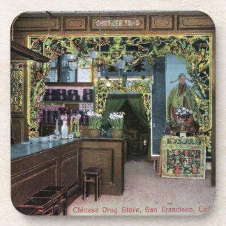 Chinese Drug Store in San Francisco Vintage Drink Coaster