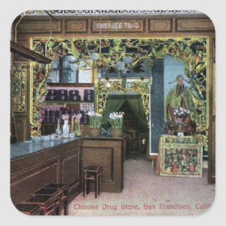 Chinese Drug Store in San Francisco Vintage Square Sticker