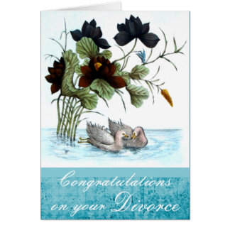 Chinese Ducks and Lotus Divorce Card