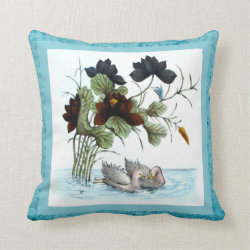 Chinese Ducks and Lotus Throw Pillow