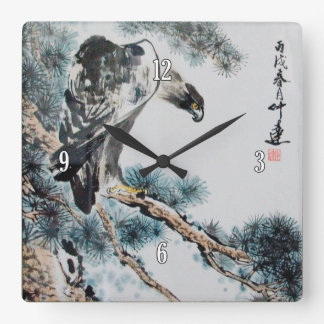 Chinese Eagle Painting Square Wall Clock