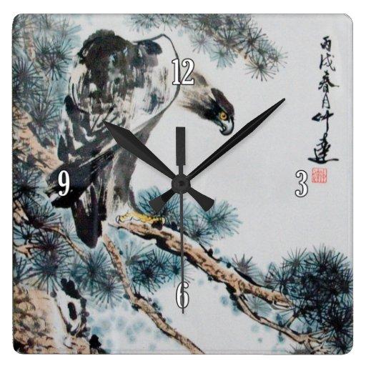 Chinese Eagle Painting Square Wallclocks