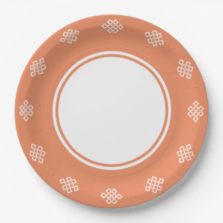 Chinese Elegance in Coral Paper Plate
