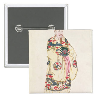 Chinese Emperor in Ceremonial Costume 2 Inch Square Button