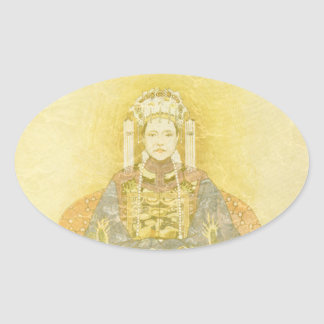 Chinese Empress on Her Throne Oval Sticker