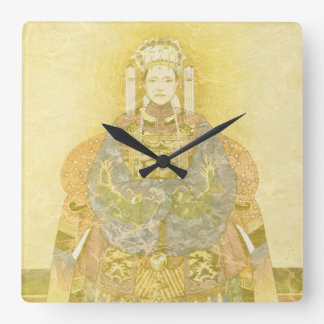 Chinese Empress on Her Throne Square Wall Clock