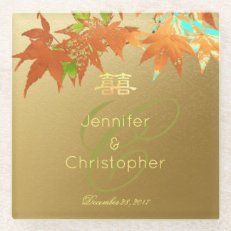Chinese Fall Maple Wedding Monogram Faux Gold Foil Glass Coaster