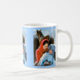Chinese family in winter coffee mug
