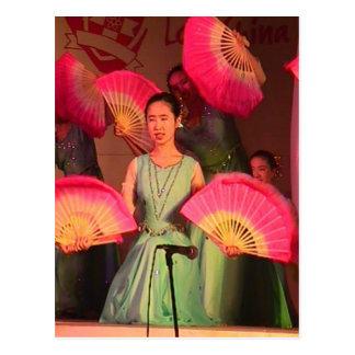 Chinese fan dance postcard