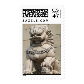 Chinese Female Guardian Lion Foo Dog 石獅 Stamp