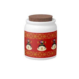 Chinese Female Hat 鮑 鮑 Candy Jar