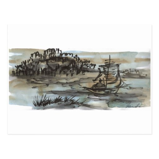 Chinese Fishing Boat Art Postcard