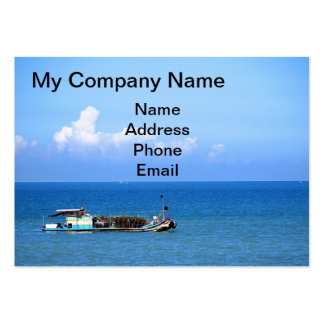 Chinese Fishing Boat on a Blue Sea Business Card Template