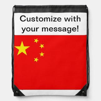 Chinese Flag Drawstring Bag