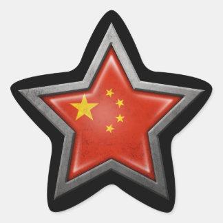 Chinese Flag Star on Black Star Sticker