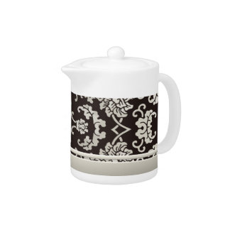 Chinese Floral Damask Black and Taupe Teapot