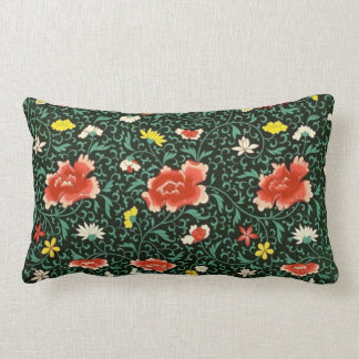 Chinese floral green oblong pillow