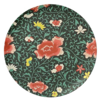 Chinese floral green plate