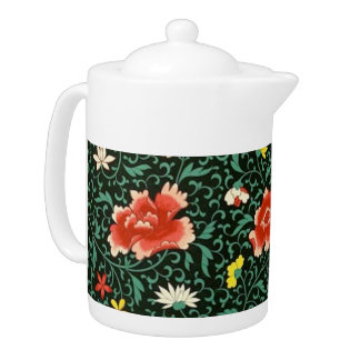 Chinese floral green teapot