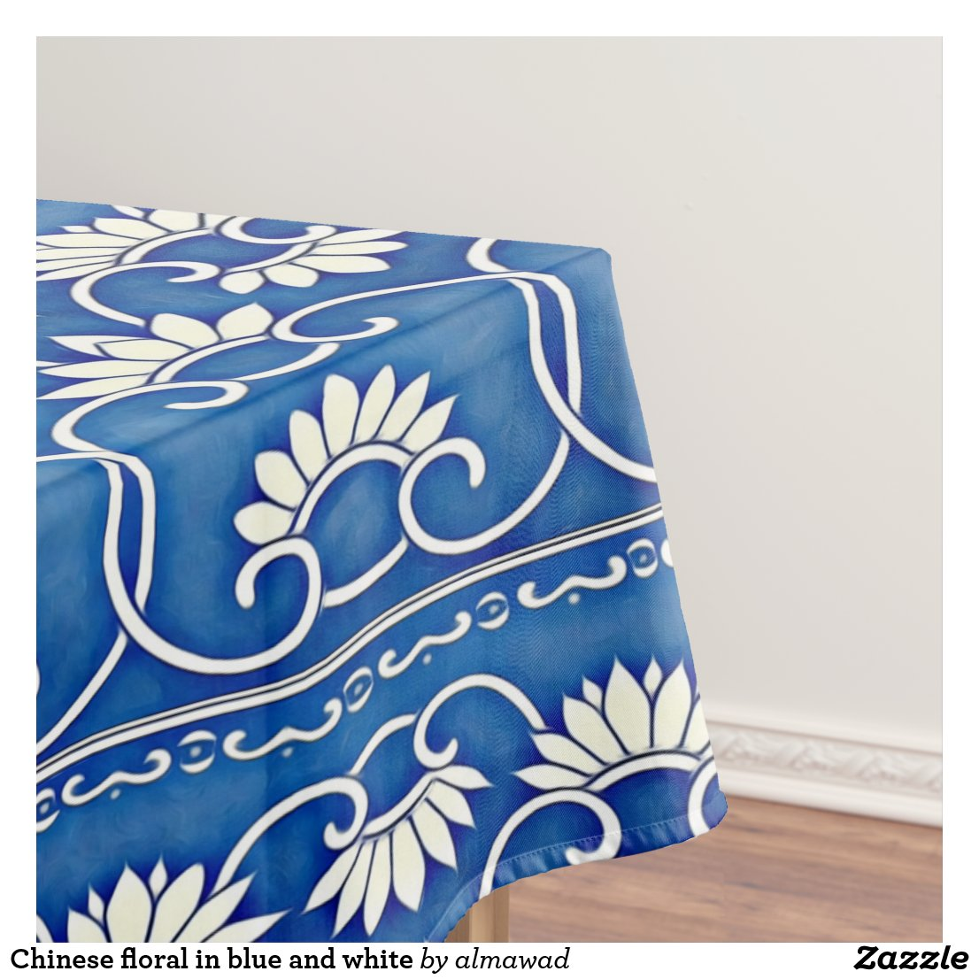 Chinese floral in blue and white tablecloth
