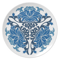 chinese floral porcelain blue dinner plate