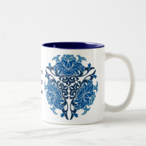 chinese floral porcelain blue Two-Tone coffee mug