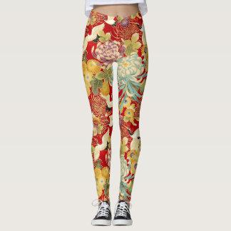 Chinese Floral Print Leggings