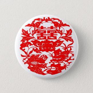 Chinese Folk Art Double Happiness Love Birds Pinback Button
