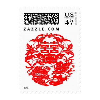 Chinese Folk Art Double Happiness Love Birds Postage Stamp