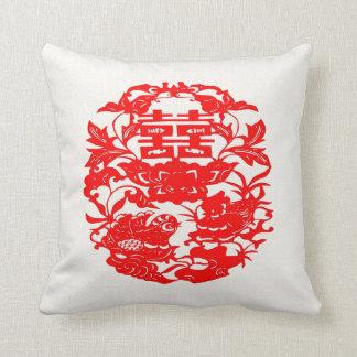 Chinese Folk Art Double Happiness Love Birds Throw Pillow