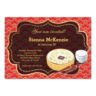 """Chinese food Birthday party 5"""" X 7"""" Invitation Card"""