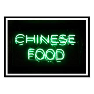 CHINESE FOOD - Green Neon Sign Large Business Cards (Pack Of 100)