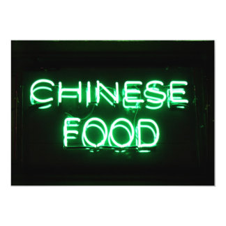 CHINESE FOOD - Green Neon Sign Card