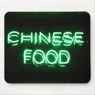CHINESE FOOD - Green Neon Sign Mousepads