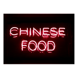 CHINESE FOOD - Red  Neon Sign Large Business Cards (Pack Of 100)