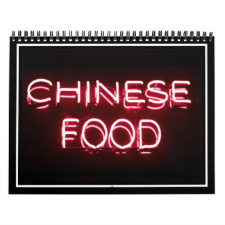 CHINESE FOOD - Red  Neon Sign Calendar