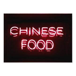 CHINESE FOOD - Red  Neon Sign Card