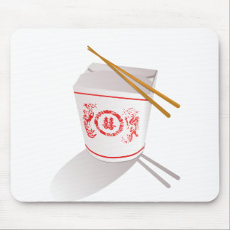 Chinese food take out box chopsticks graphic mouse pad