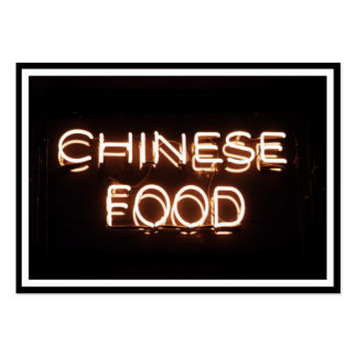 CHINESE FOOD - Yellow  Neon Sign Large Business Cards (Pack Of 100)
