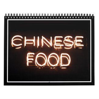 CHINESE FOOD - Yellow  Neon Sign Calendar