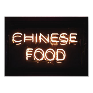 CHINESE FOOD - Yellow  Neon Sign Card