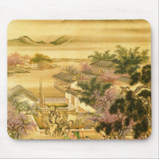 chinese garden beneath a mountain mouse pad