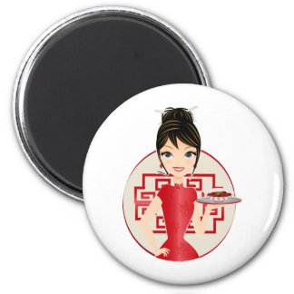 Chinese girl 2 inch round magnet