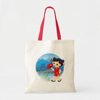 Chinese girl budget tote bag
