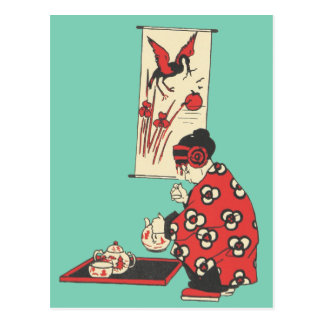 Chinese Girl Having Tea Illustration Postcard