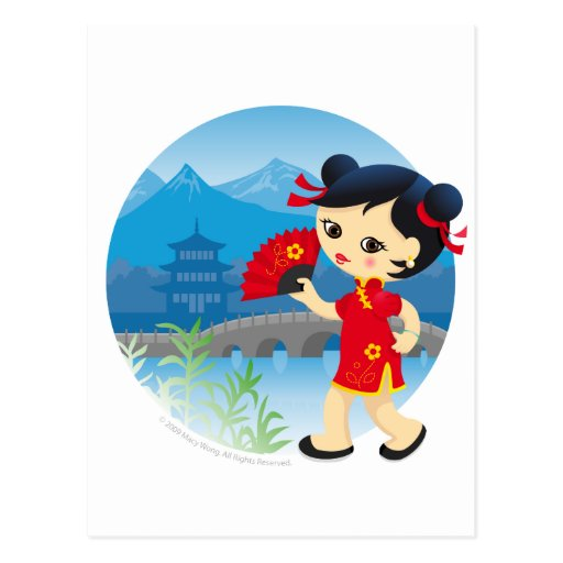 Chinese girl postcards
